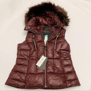 NWT Stitch Fix Andrew Marc Puffer Vest Fur Hood Lg
